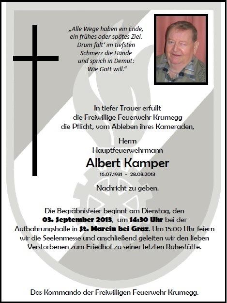 Wir trauern um unseren Feuerwehrkameraden Herrn Albert Kamper aus Krumegg