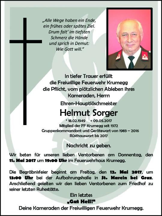 Wir trauern um unseren Feuerwehrkameraden Herrn Helmut Sorger aus Krumegg
