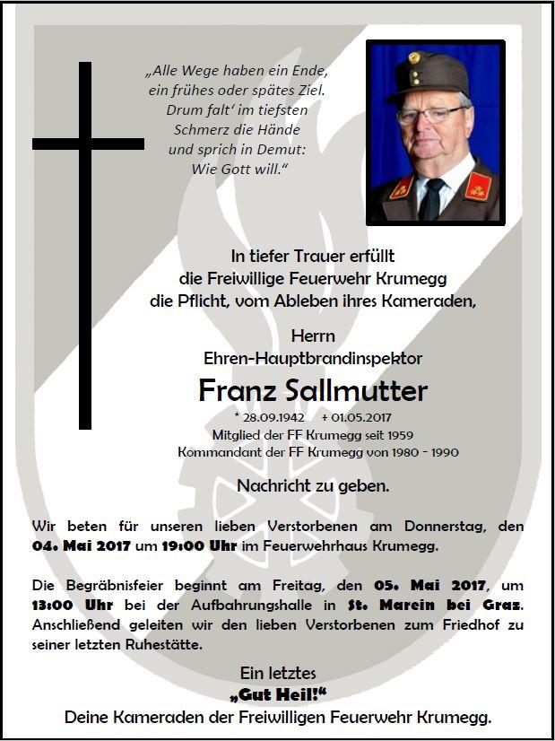 Wir trauern um unseren Feuerwehrkameraden Herrn Franz Sallmutter