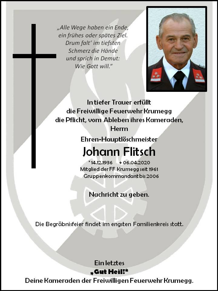 Wir trauern um unseren Feuerwehrkameraden Herrn Johann Flitsch
