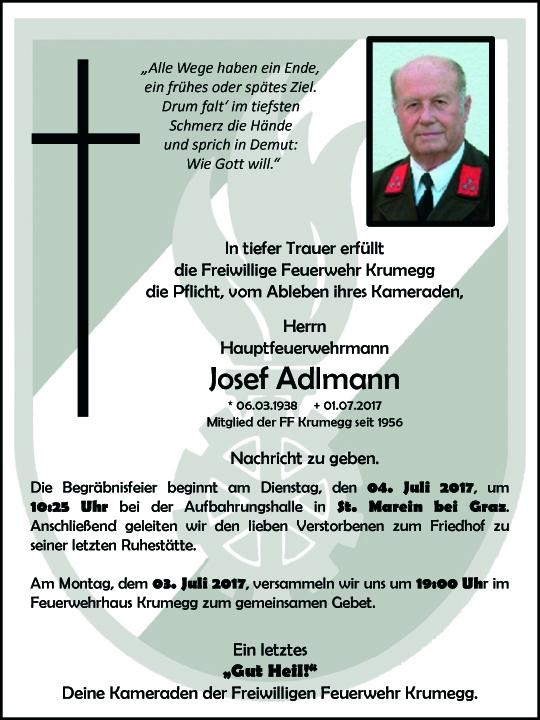 Wir trauern um unseren Feuerwehrkameraden Herrn Josef Adlmann aus Krumegg