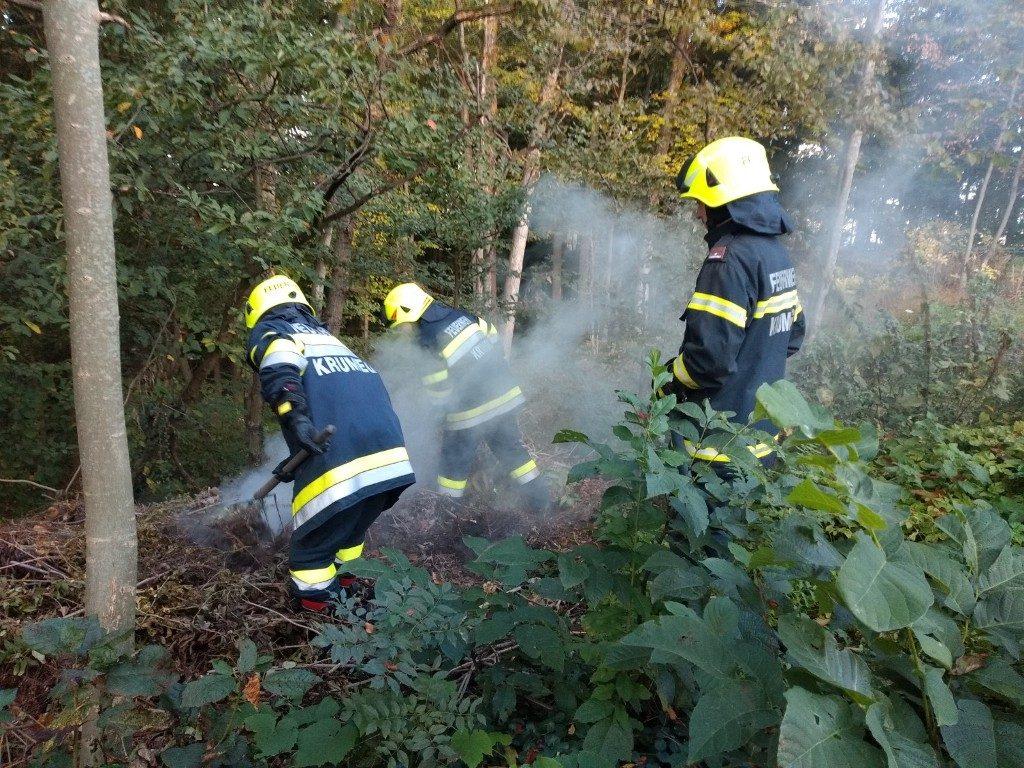 Glimmbrand bei einer Waldböschung
