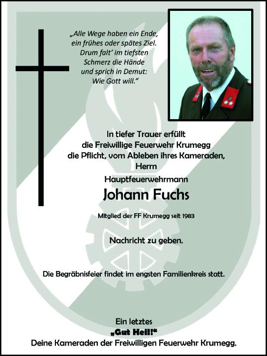 Wir trauern um unseren Feuerwehrkameraden Herrn Johann Fuchs